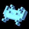 3d invader blue